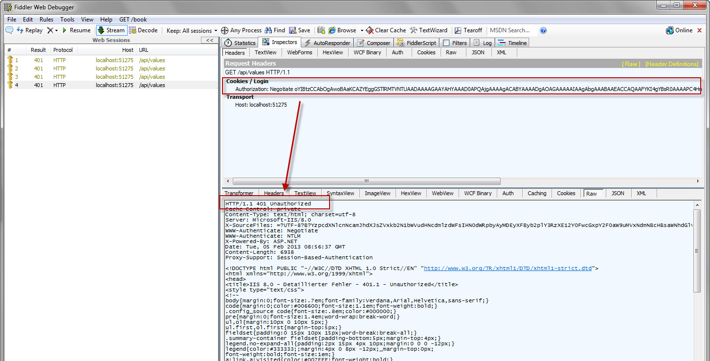 Fiddler and the 401 (Unauthorized) error with ASP NET Web API using